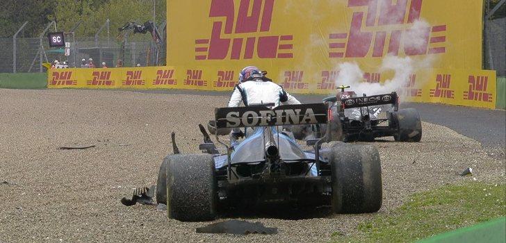 Así quedaron los coches de Russell y Bottas