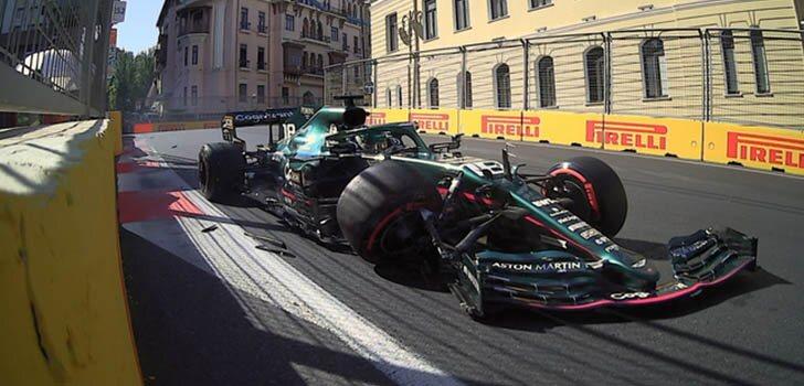 Accidente de Lance Stroll clasificación Bakú