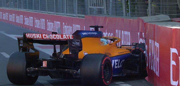 El accidente de Daniel Ricciardo había cerrado la Q2 en Bakú