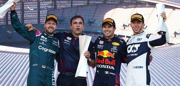 Pérez, Vettel y Gasly en el podio de Bakú