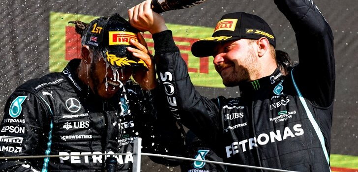 Hamilton y Bottas, juntos en el podio de Silverstone