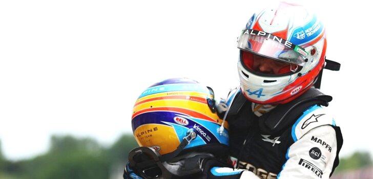 Ocon y Alonso celebran el triunfo del francés