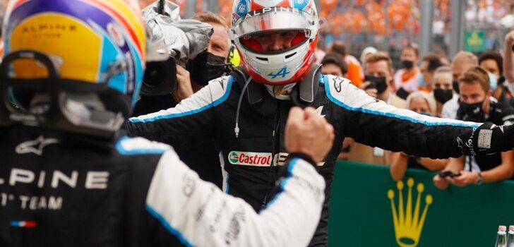 Ocon y Alonso se abrazan en Hungría
