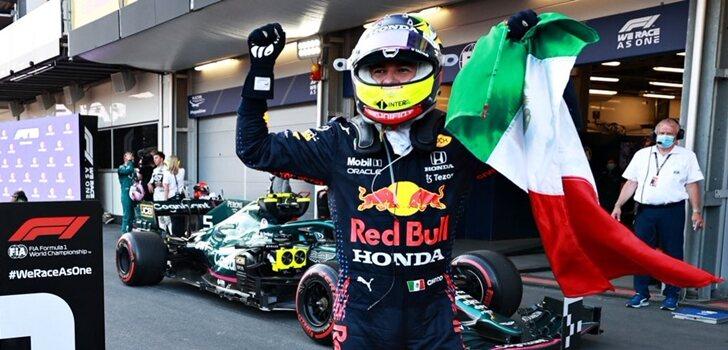 Pérez celebra su triunfo en Bakú