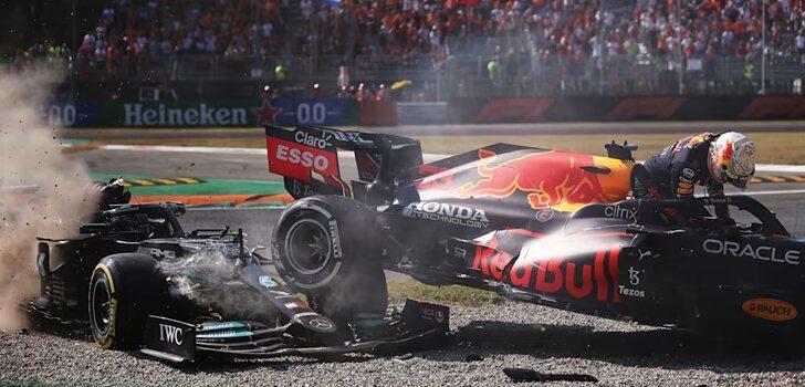 Accidente entre Verstappen y Hamilton en Italia