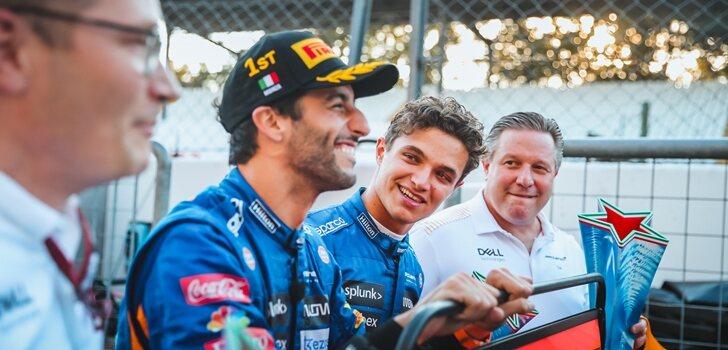 Norris y Ricciardo celebran el podio en Italia