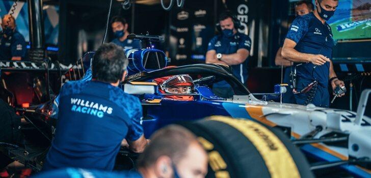Russell, en el garaje de Monza