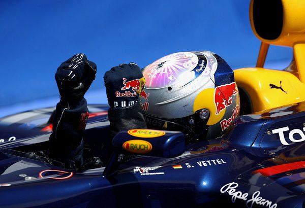 Los pilotos de Red Bull contentos con la primera línea de la parrilla