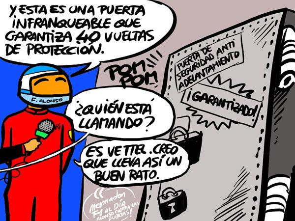 La viñeta (124): 'Alonso y su puerta infranqueable'