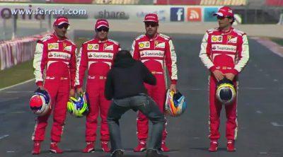 Tras las cámaras: los pilotos de Ferrari, de rodaje en Montmeló