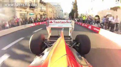 'On board' trasera de Fisichella con el Ferrari F60 en Jerusalén