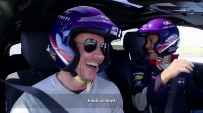 Felix Baumgartner se divierte con Sebastian Vettel y David Coulthard