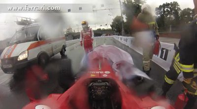 El accidente de Kamui Kobayashi en Moscú 'on board'