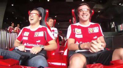 Alonso y Massa a 240 Km/h en la montaña rusa de Ferrari
