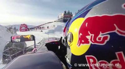 Max Verstappen rueda con el RB7 en la nieve de Austria