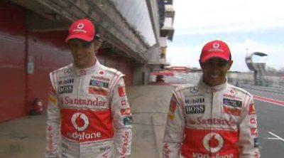 En el Circuit de Catalunya con Button y Hamilton