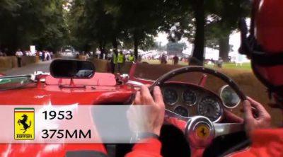 El Ferrari 375 MM de 1973 sube la colina de Goodwood