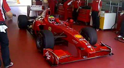 Sergio Pérez rueda con el Ferrari F60 en Fiorano