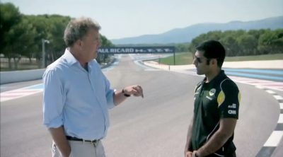 Jeremy Clarkson (de Top Gear) y Karun Chandhok en Paul Ricard