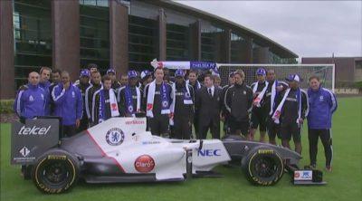 Los jugadores del Chelsea FC se suben al Sauber