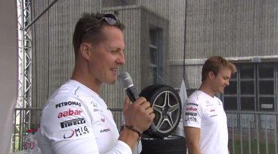 Rosberg y Schumacher en Rastatt para visitar la fábrica de Mercedes