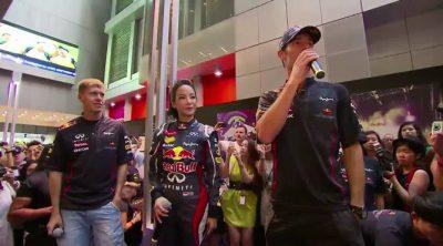 Vettel y Webber inauguran una tienda de Red Bull en Singapur